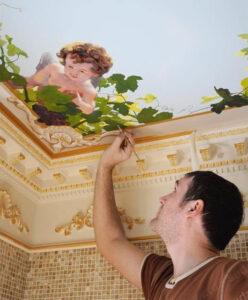 Как делается художественная роспись потолка