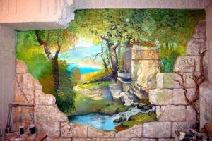 Художественная роспись стен в ванной.