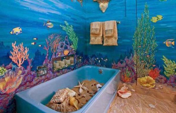 Художественная роспись стен в ванной