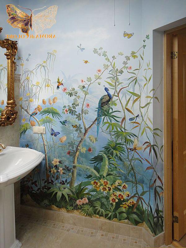 Художественная роспись стен в туалете
